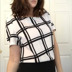 Black and White Grid Top with Fluffy Sleeves
